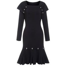 Gothic Metal Skull Studs Long Sleeves Black Dress