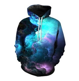 Men's Cloud Print Hooded Sweatshirt Psychedlic Print Pullover Hoodie