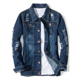 Men's Distressed Dark Blue Denim Spring Jacket Button Up Jean Shirt