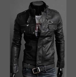 Men's Black Vegan Leather Gothic Punk Jacket $5 To Ship!