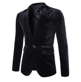 Men's Black Velvet Romantic Gothic Blazer Vamp Jacket Jacket $5 To Ship!