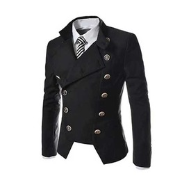Men's Black Military Punk Goth Jacket With Big Buttons $5 To Ship!