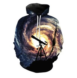 Men's Space Print Rockabilly Hooded Sweatshirt Telescope Print Hoodie