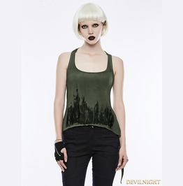 Green Gothic Punk Printing Tank Top For Women Wt 504 Gr