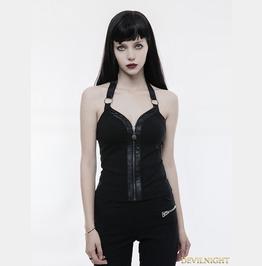 Black Gothic Punk Zipper Vest For Women Wt 503