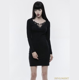 Black Gothic Simple Slim Dress Wq 343
