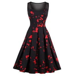 Gothic Sleeveless Black Red Dress