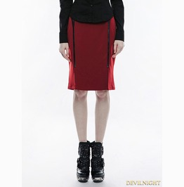 Red Gothic Military Uniform Half Skirt Wq 342 Rd