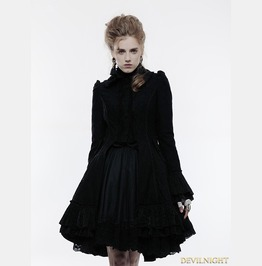 Black Gothic Lolita Lace Overcoat For Women Wly 067