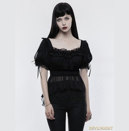 Black Gothic Lolita Thin Knitted T Shirt For Women Wlt 011