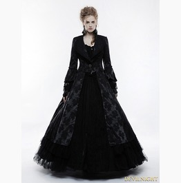 Black Gorgeous Floral Pattern Gothic Coat For Women Wy 844 Bk