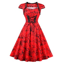 Vintage Tie Up Lace Floral Print Red Dress