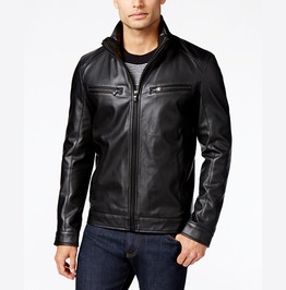 Men Fashion Trend Black Motorcycle Leather Jacket, Men Biker Leather Jacket