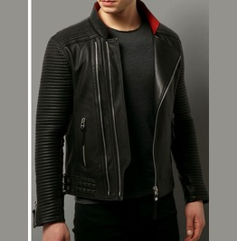 Men Black Motorcycle Leather Jacket, Mens Fashion Biker Leather Jacket