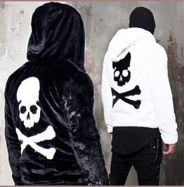 Big Back Skull Hooded Fur Zip Up Jacket 308