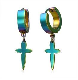 Anodized Stainless Steel Flower Cross Drop Hoop Huggie Earrings Pair