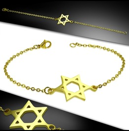 Gold Color Plated Stainless Steel Star Of David Chain Bracelet