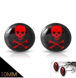 10mm Stainless Steel 3 Tone Crossbones Skull Circle Stud Biker Earrings