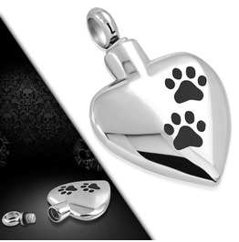 Stainless Steel Dog Paw Openable Heart Cremation Ash Urn Memorial Pendant