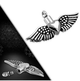 Stainless Steel 2 Tone Openable Heart Wings Cremation Urn Keepsake Pendant