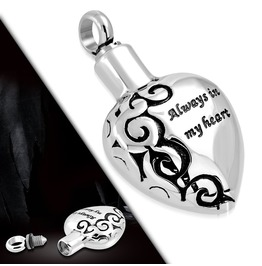 Stainless Always In My Heart Monogram Openable Heart Urn Memorial Pendant
