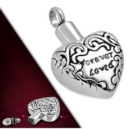 Stainless Always Forever Loved Monogram Openable Heart Urn Memorial Pendant