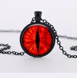 "Black Glass Dome Necklace ""Red Dragon Eye"" V1"