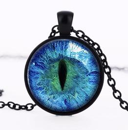 "Black Glass Dome Necklace ""Blue Dragon Eye"" V1"