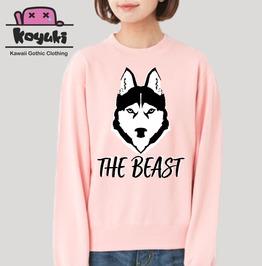 The Beast Wolf Sweatshirt Pink Harajuku Unisex