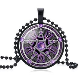 "Black Glass Dome Necklace ""Pentagram"" V9"