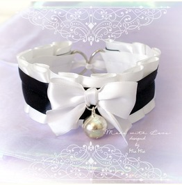 Kitten Pet Play Cat Collar Choker Necklace Black And White Bow Bell Fairy K