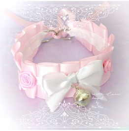 Bdsm Kitten Play Collar Choker Necklace Baby Pink Bell White Bow Rose Fairy