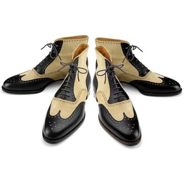 New Handmade Men Wing Tip Ankle High Boots Two Tone Leather Brogue Boots