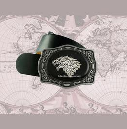 Wolf Head Belt Buckle Inlaid In Hand Painted Glossy Black Enamel
