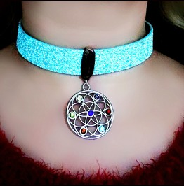 Submissive Bdsm Collar Boho Chic Necklace Hippie Choker Psychedelic Jewelry