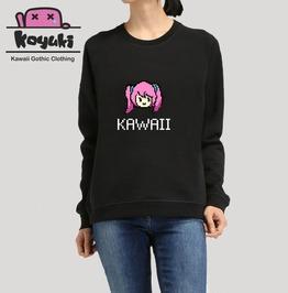 Kawaii Pixels Girl Harajuku Pastel Black Sweatshirt Cute
