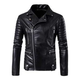 Men's Black Vegan Leather Motorcycle Punk Faux Leather Biker Jacket