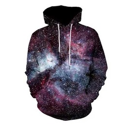 Men's Cosmic Hooded Sweatshirt Galaxy Print Hoodie Front Pocket Drawstring