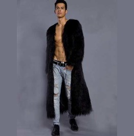 Men's Furry Long Coat Faux Fur Raver Furries Fetish Trenchcoat $5 To Ship!