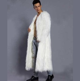 Men's White Furry Long Coat Faux Fur Raver Furries Fetish Trenchcoat