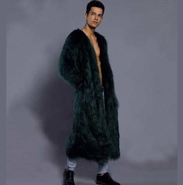 Men's Dark Green Furry Long Coat Faux Fur Raver Furries Fetish Trenchcoat