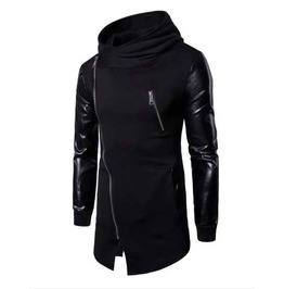 Men's Black Faux Leather Sleeve Asymmetrical Goth Punk Pointed Elf Hoodie