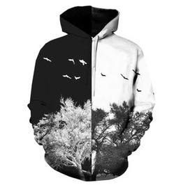Men's Black & White Tree Print Hooded Sweatshirt Print Hoodie $5 To Ship!