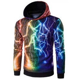 Men's Rainbow Multi Coloured Lightning Print Hooded Sweatshirt Hoodie