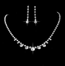 Sparkling Sterling Silver Zirconia Swarovski Rhinestone Tennis Necklace Set