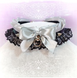 Kitten Pet Play Collar Ddlg Choker Necklace Gray Black Lace Ruffles Bow O R