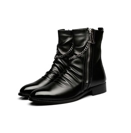 Men's Leather Zipper Winter Warm Booties Mid Calf Booties Flat Sneakers