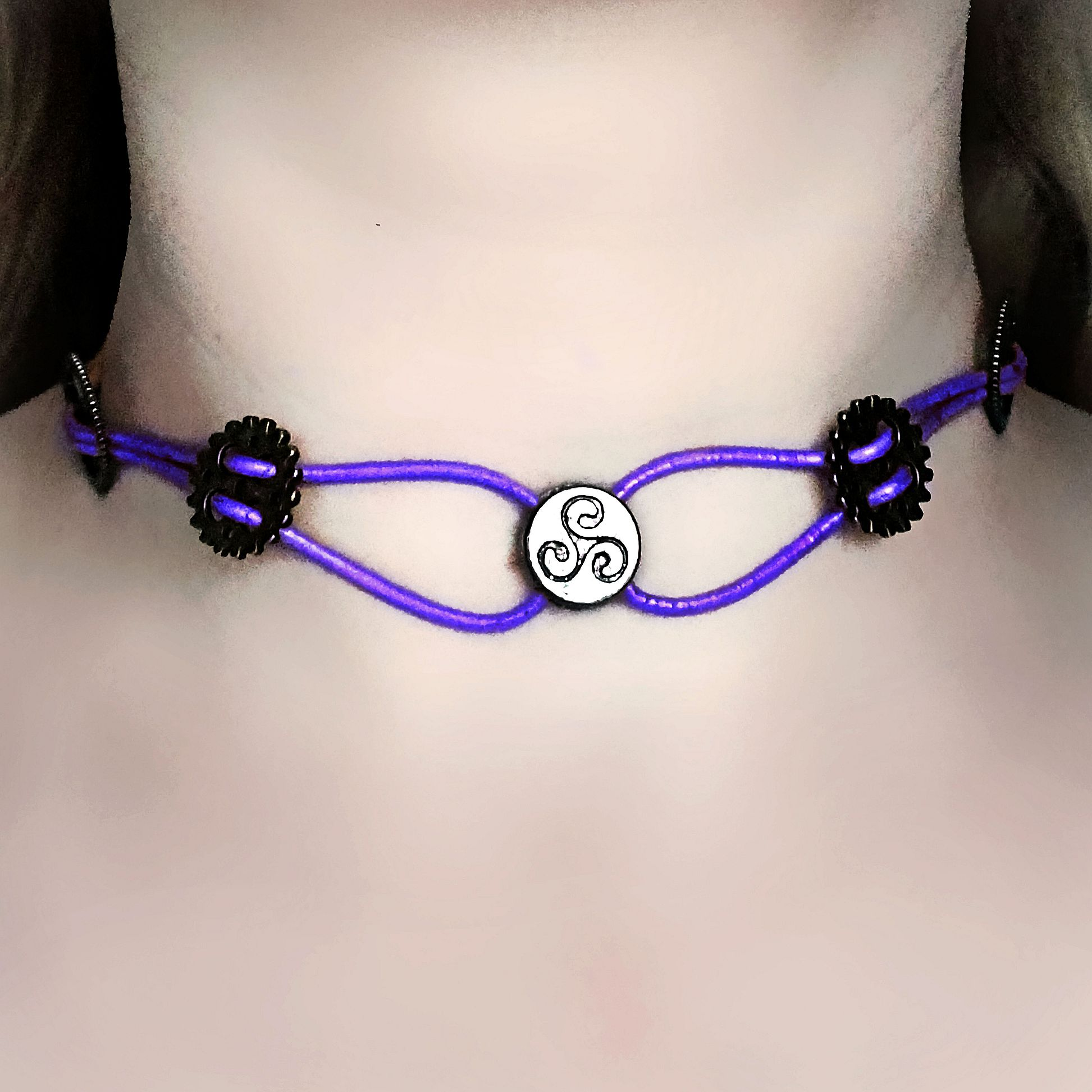 Submissive triskele collar choker steampunk bdsm symbol triskelion product details biocorpaavc Gallery