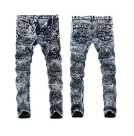 Men Stylish Jeans Pants Biker Skinny Slim Straight Denim Trousers