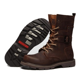Men High Top Boots Martin Boots Genuine Leather Motorcycle Shoes Outdoor